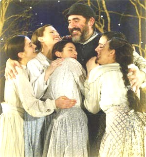 Alfred Molina As Teyve Is Embraced By His Five Daughters In The New.  Broadway Revival Of FIDDLER ON THE ROOF. (Photo Credit: Carol Rosegg)